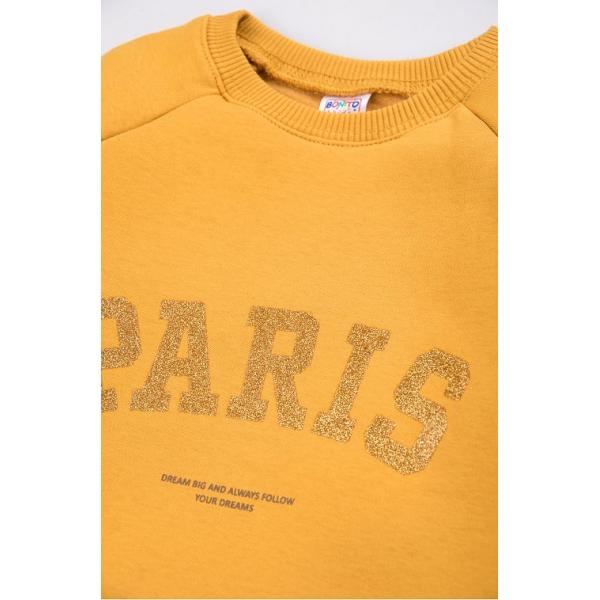 """20-1262-3 """"Paris"""" Толстовка утепленная для девочки, 3-7 лет, горчичный"""