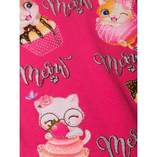 """12-140279-1 """"Meow"""" Футболка для девочки, 1-4 года, малиновый"""