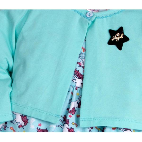 20-33603К Комплект: боди-платье, кофточка для девочки, 68-86