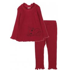20-1303-2 Пижама для девочки, кашкорсе,  74-98, бордовый