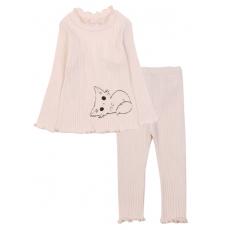 20-1303-3 Пижама для девочки, кашкорсе,  74-98, молочный