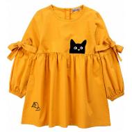 """20-1182-1 """"Мяу"""" Платье для девочки из поплина, 3-7 лет, горчичный"""