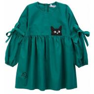 """20-1182-2 """"Мяу"""" Платье для девочки из поплина, 3-7 лет, изумрудный"""