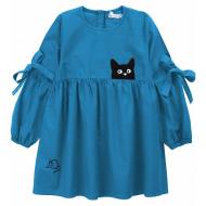 """20-1182-3 """"Мяу"""" Платье для девочки из поплина, 3-7 лет, голубой"""