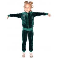 20-825-1 Костюм для девочки из королевского велюра, 2-5 лет, т-зеленый