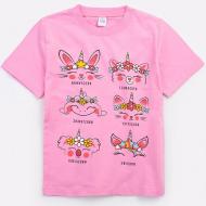 20-002205 Футболка для девочки, 4-8 лет, розовый