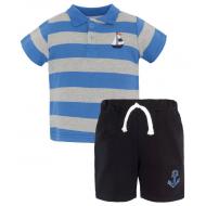 20-10571 Комплект поло-шорты, пике, 1-4 года, синий