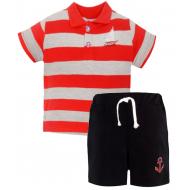 20-10572 Комплект поло-шорты, пике, 1-4 года, красный