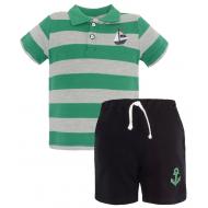 20-10573 Комплект поло-шорты, пике, 1-4 года, зеленый
