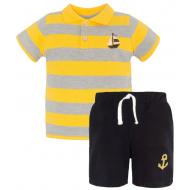 20-10574 Комплект поло-шорты, пике, 1-4 года, желтый