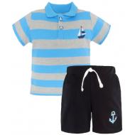 20-10575 Комплект поло-шорты, пике, 1-4 года, голубой