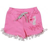 20-10652 Шорты для девочки из футера, 3-7 лет, розовый