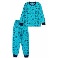 20-135413 Пижама для мальчика, 7-11 лет, бирюзовый