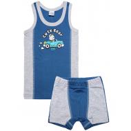 20-14656 Комплект майка трусы для мальчика, рибана, 2-6 лет, джинсовый