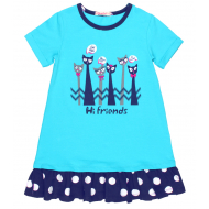 20-14762 Платье для девочки, 5-8 лет, бирюзовый