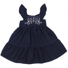 20-8862 Платье для девочки из сатина, 3-7 лет, т-синий
