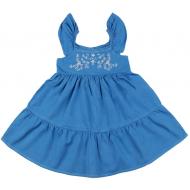 20-8864 Платье для девочки из сатина, 3-7 лет, голубой