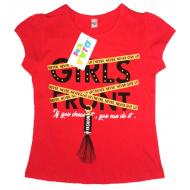 45-8120212 Футболка для девочки, 8-12 лет, красный