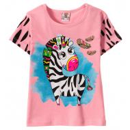 """12-140259-1 """"Zebra"""" Футболка для девочки, 1-4 года, розовый"""