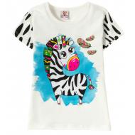 """12-140259-2 """"Zebra"""" Футболка для девочки, 1-4 года, белый"""