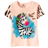 """12-140259-4 """"Zebra"""" Футболка для девочки, 1-4 года, коралловый"""
