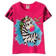 """12-140259-5 """"Zebra"""" Футболка для девочки, 1-4 года, малиновый"""