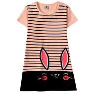 """12-8110810-2 """"Ears eyes"""" Платье для девочки, 8-11 лет, коралловый"""