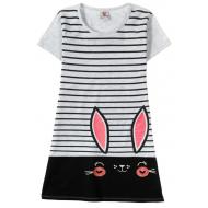 """12-8110810-4 """"Ears eyes"""" Платье для девочки, 8-11 лет, св-серый"""