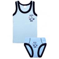 20-14641 Комплект майка трусы для мальчика, рибана, 2-6 лет, голубой