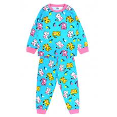 20-300025 Пижама для девочки, кулир, 2-6 лет, бирюзовый