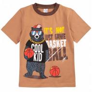 20-002104 Футболка для мальчика, 4-8 лет, коричневый