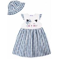 20-8704 Платье с панамой, 2-6 лет, т-синий