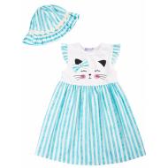 20-8702 Платье с панамой, 2-6 лет, бирюзовый