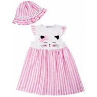 20-8703 Платье с панамой, 2-6 лет, розовый