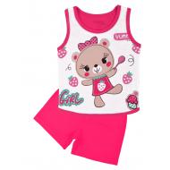 20-131703 Комплект для девочки майка-шорты, 1-4 года, т-розовый