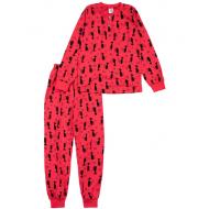 20-13541 Пижама для девочки, 7-11 лет, малиновый