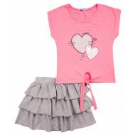 """20-4922 """"Сердечки""""  Костюм для девочки, 2-6 лет, розовый"""