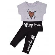 """20-4931 """"My Heart"""" Костюм для девочки, 4-8 лет, меланж\черный"""
