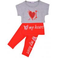 """20-4932 """"My Heart"""" Костюм для девочки, 4-8 лет, меланж\красный"""