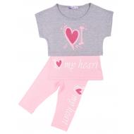 """20-4933 """"My Heart"""" Костюм для девочки, 4-8 лет, меланж\розовый"""