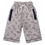 20-7553 Удлиненные шорты для мальчика, 5-8 лет, меланжевый