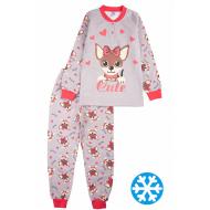 20-95522 Пижама утепленная для девочки, 7-10 лет, серый