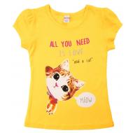 20-002205 Футболка для девочки, 4-8 лет, желтый