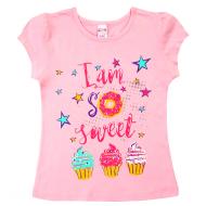 20-002206 Футболка для девочки, 4-8 лет, розовый