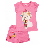 20-005205 Костюм для девочки, 4-8 лет, розовый