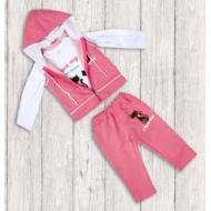 20-128103 Костюм тройка для девочки, 3-7 лет, розовый