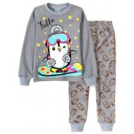 11-148202-2 Пижама для девочки, 1-4 года, серый