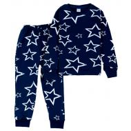 11-378201 Пижама для девочки, интерлок, 3-7 лет, синяя ночь