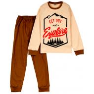 11-9128130 Пижама для мальчика, интерлок, 9-12 лет, кофейный