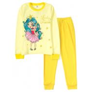 11-9128205 Пижама для девочки, интерлок, 9-12 лет, желтый